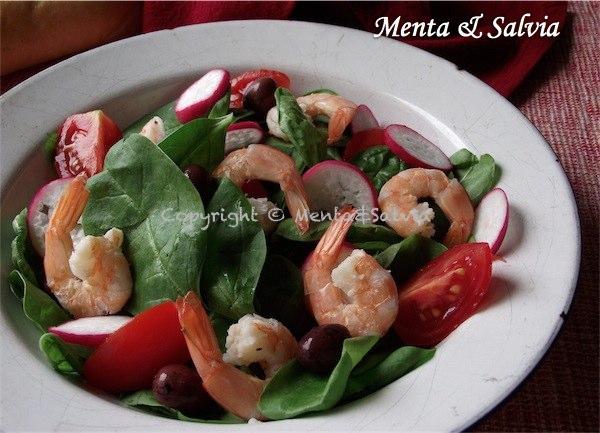 Insalata di spinacini e gamberetti