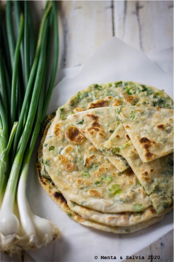 Pancake cinesi ai cipollotti